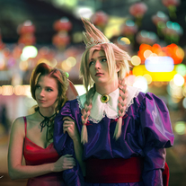 FF7 Wallmarket Aeris and Cloud Cosplay Print medium photo