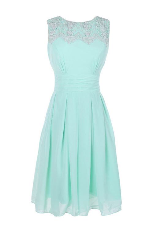 O neck Mint Cheap Short Simple Chiffon Plus Size Bridesmaid Dress, FS6388  from romanticdress