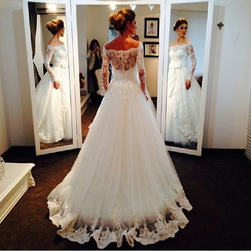 A213 Vintage Bridal Bride Long Sleeve White Lace Wedding Dresses ...