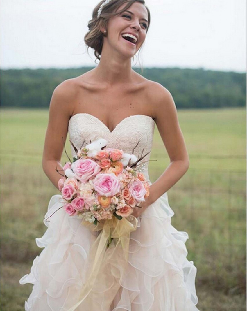 A233 2016 Lace Light Pink Wedding Dress Simple A line Ruffles ...