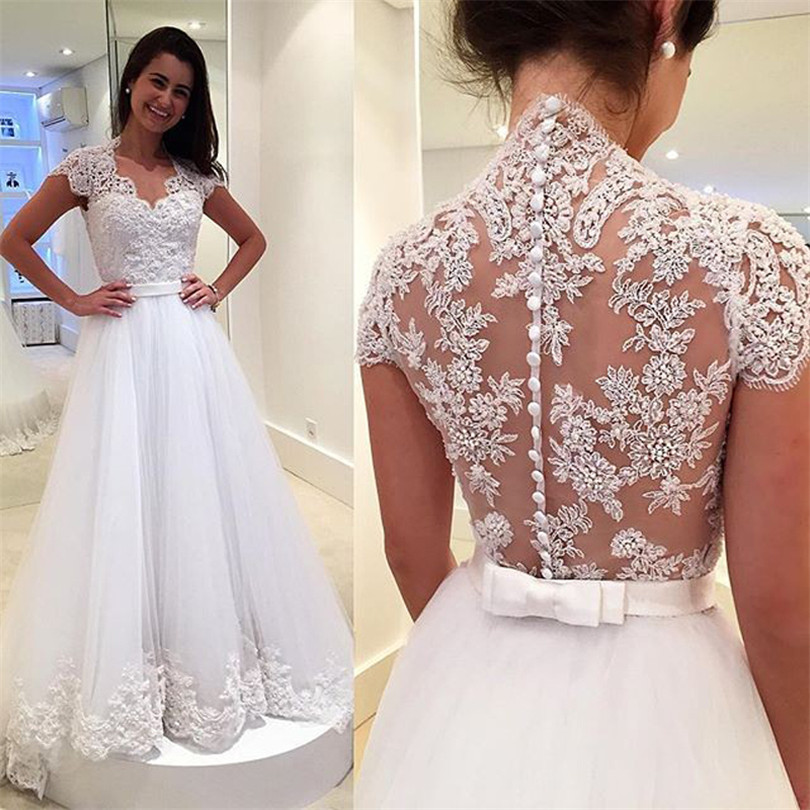 A247 Vintage Bridal Lace Wedding Dresses Bride with Short Sleeves ...