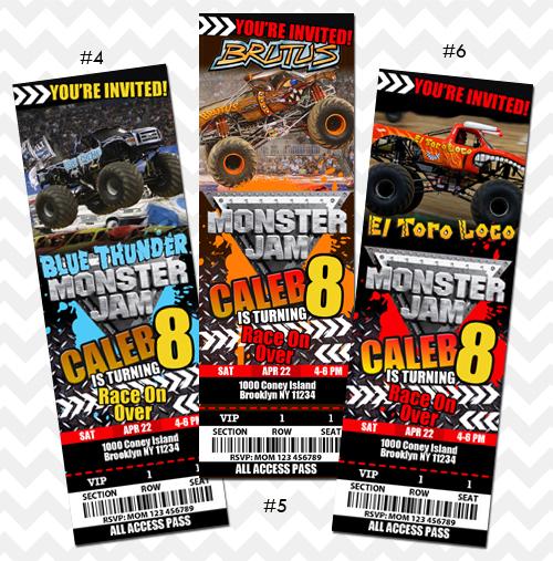 ithinkparty Grave Digger Invitation Monster Jam Truck Online