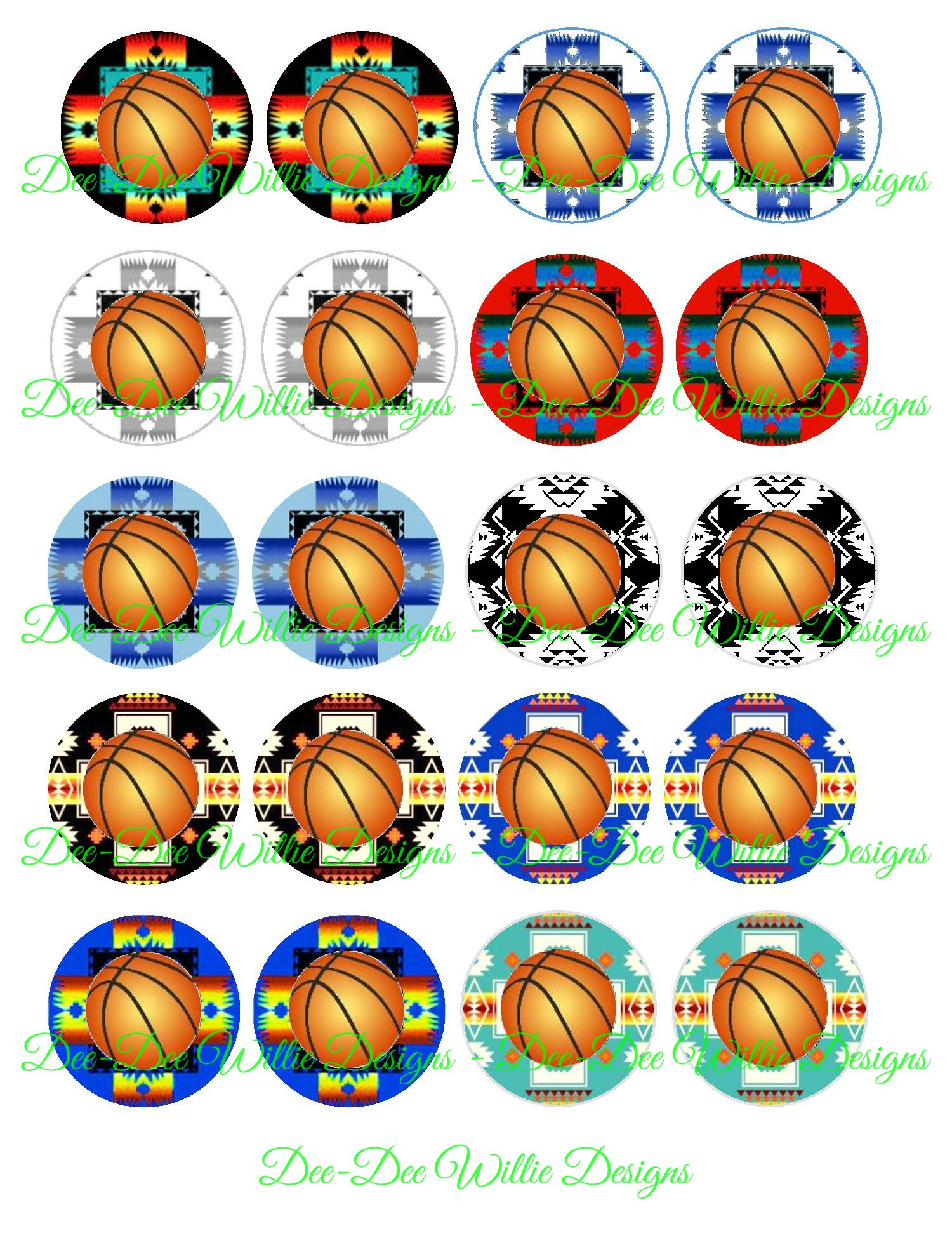 Native print basketball 1 inch cabochons dee dee for Native design