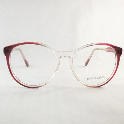Women\'s Big Round Vintage Cat Eye Two Tone Burgundy Wine Eyeglasses ...