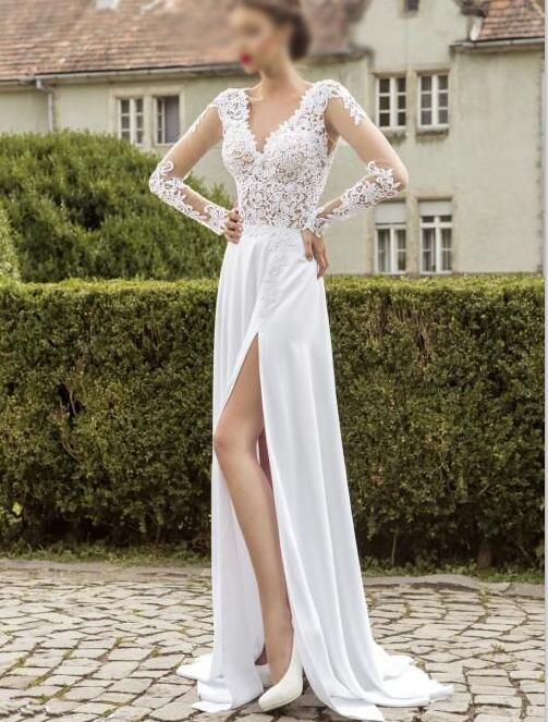 Long sleeves wedding dress white chiffon with lace wedding dress long sleeves wedding dress white chiffon with lace wedding dress side slit prom dress junglespirit Images