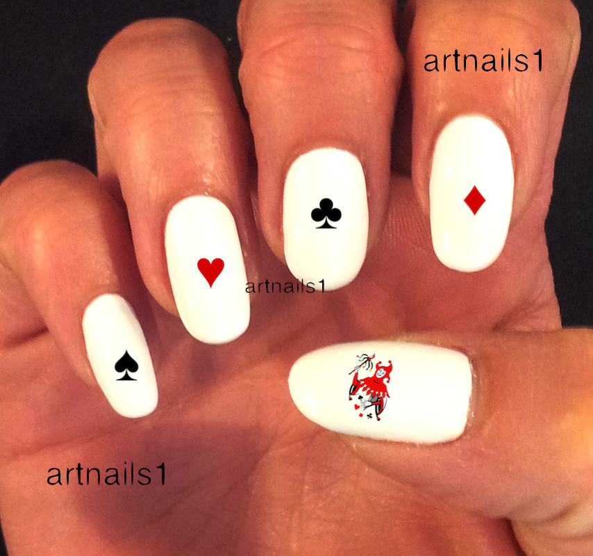 Card suit hearts diamonds clubs spades jokers nail art nails women card suit hearts diamonds clubs spades jokers nail art nails women manicure male polish prinsesfo Image collections
