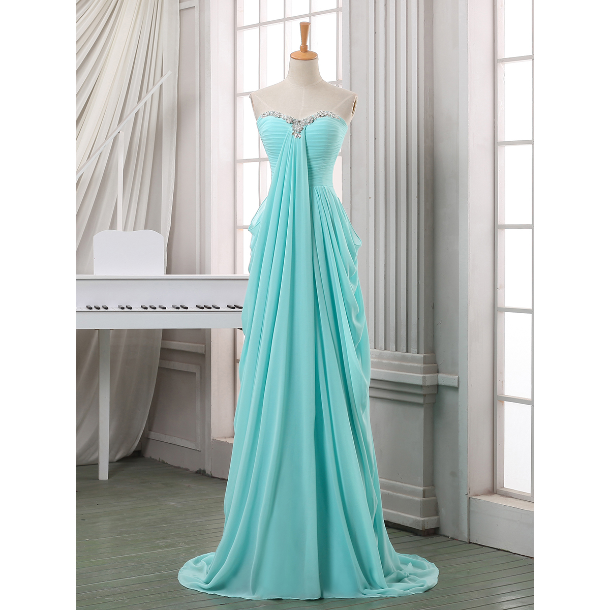 Crystal Sweetheart Ruched Long Prom Dress, A-line Chiffon Floor ...