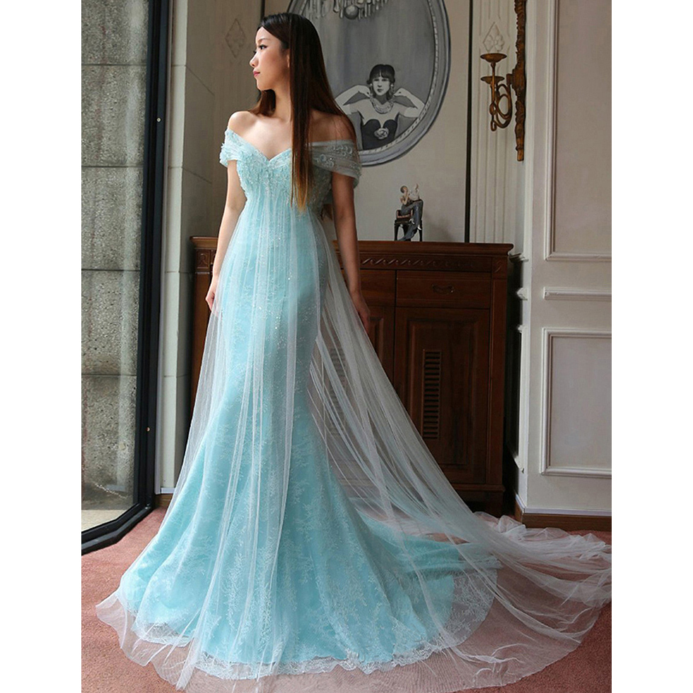 Light Blue Off the Shoulder Long Prom Dress, Cowl Back Sweep Train ...
