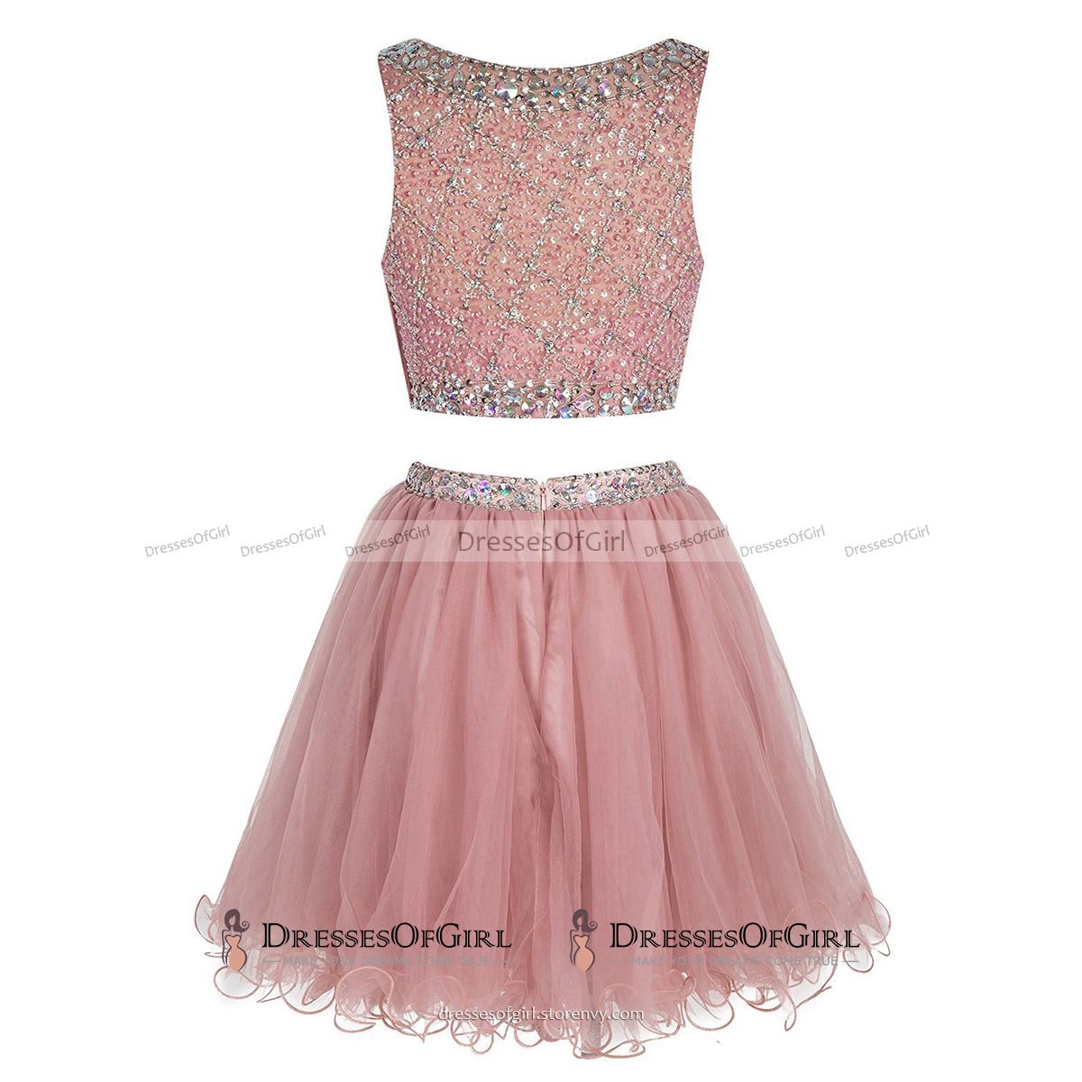 Bateau Neck Illusion Pink Short Prom Dress, Crystal Beaded Two Piece ...
