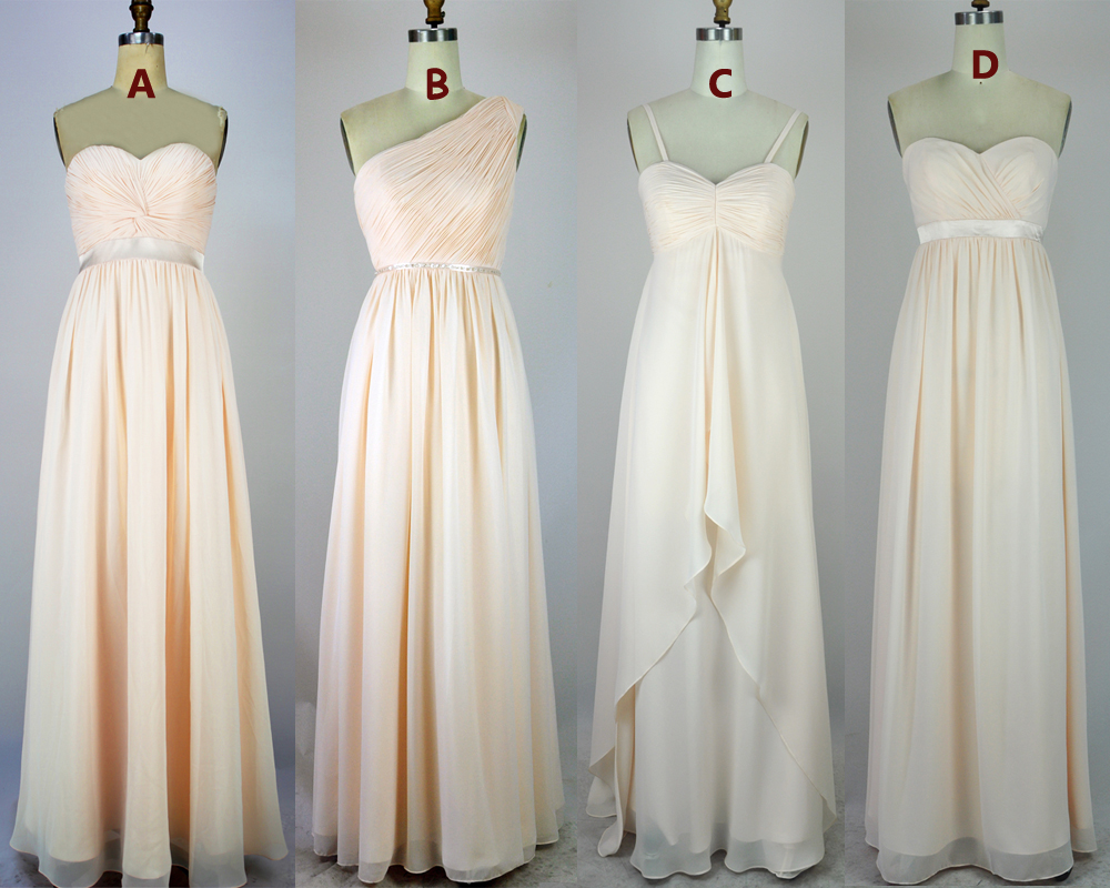 Light champagne bridesmaid dresseslong bridesmaid dresses light champagne bridesmaid dresseslong bridesmaid dressesspaghetti straps 4 styles bridesmaid gowns empire ombrellifo Gallery