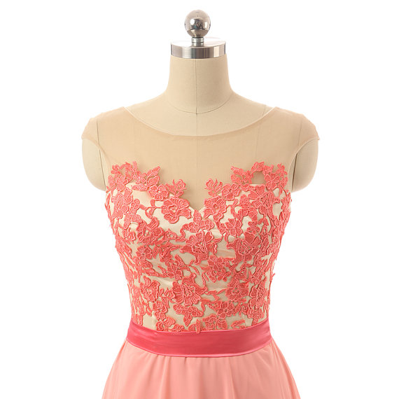light coral lace chiffon prom dresses high neck long