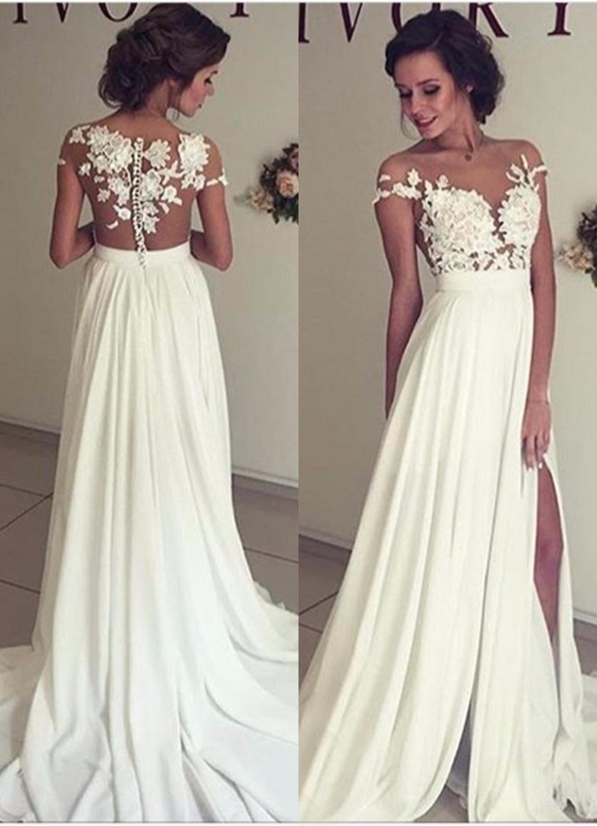 Lace and Chiffon Wedding Dress Illusion Back Thigh Slit ...