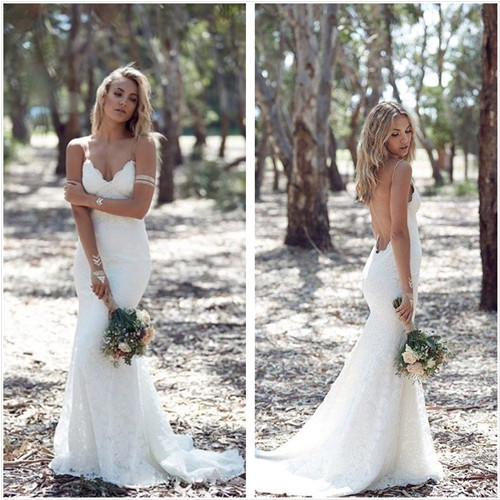 Bohemian lace backless wedding dress with spaghetti straps 0047 bohemian lace backless wedding dress with spaghetti straps 0047 thumbnail 2 junglespirit Choice Image