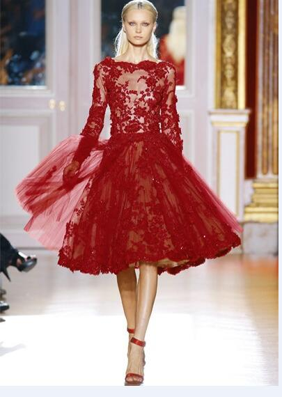 A213 Elegant A-Line Long Sleeve Red Lace Short Wedding Dress,Lace ...