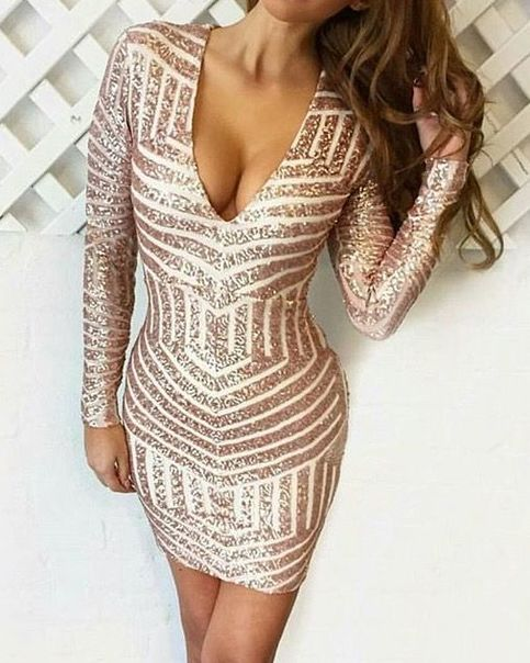 Long Sleeve Beaded Mermaid Sequins Pencil Sexy Party Prom