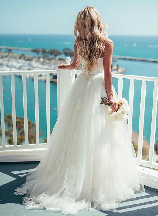 Glamorous Tulle Spaghetti Straps Neckline A-line Wedding Dress With ...