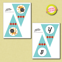 Printable 'Happy Birthday' Pennant Banner - Bowling Collection