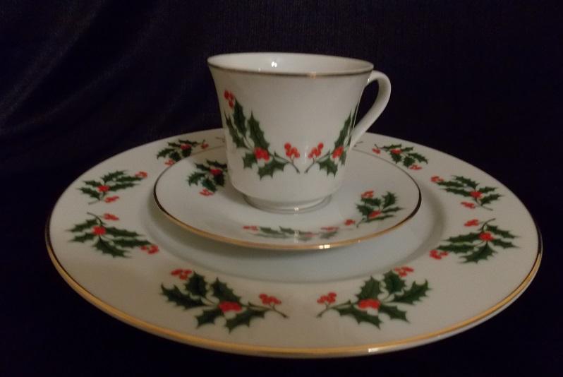 Vintage Porcelain Christmas Dinnerware Set 3 Piece Set