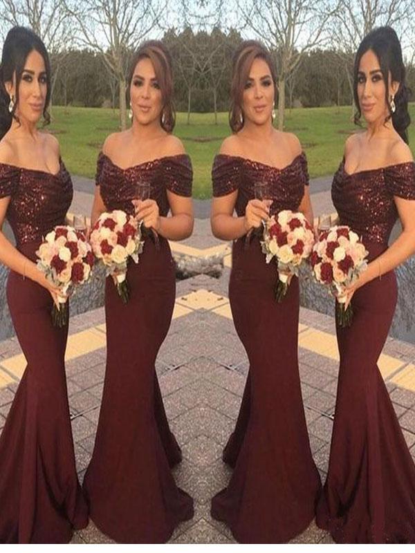 2017 Long Burgundy Bridesmaid dress, Sequin mermaid bridesmaid dress ...