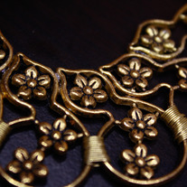 Goldtone Floral Bib Necklace