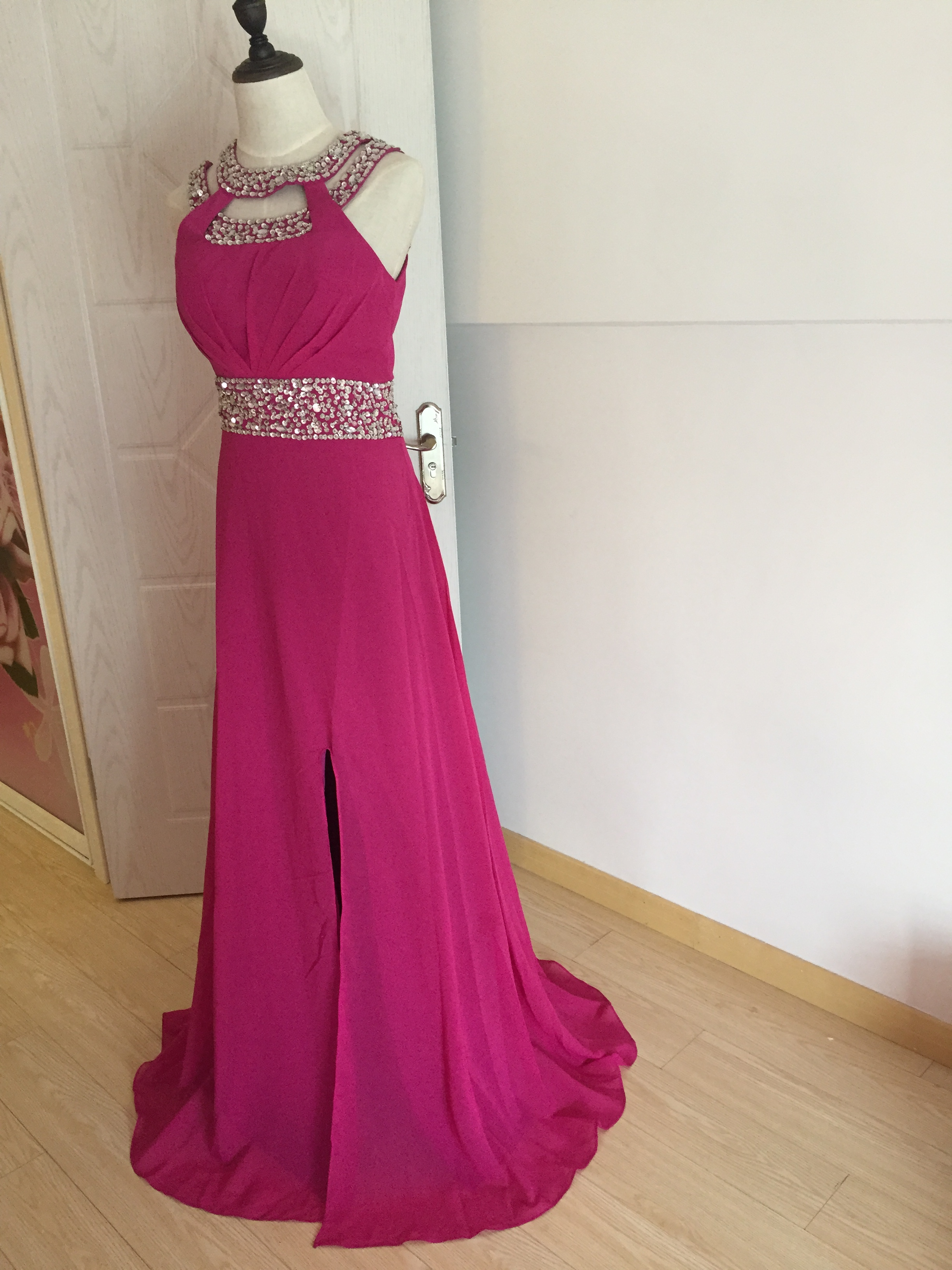 A406 Spaghetti Straps Beaded Long Prom Dresses, Real Made Fuchsia ...