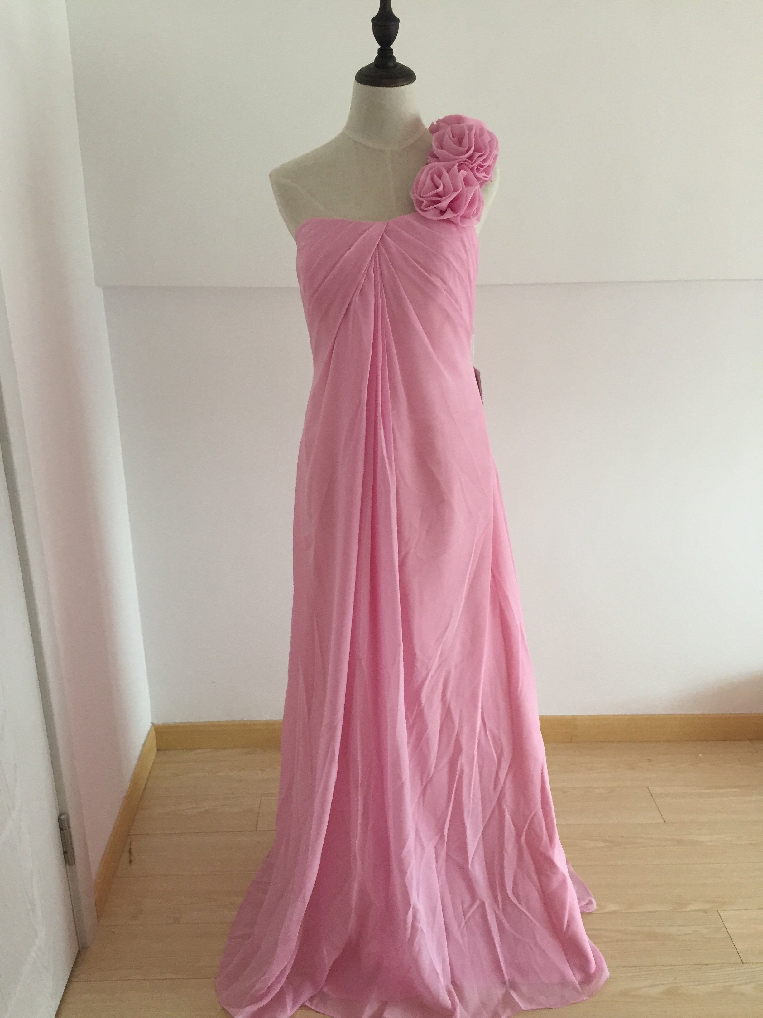 A410 Custom Made One SHoulder Prom Dresses Long , Pink Chiffon Prom ...
