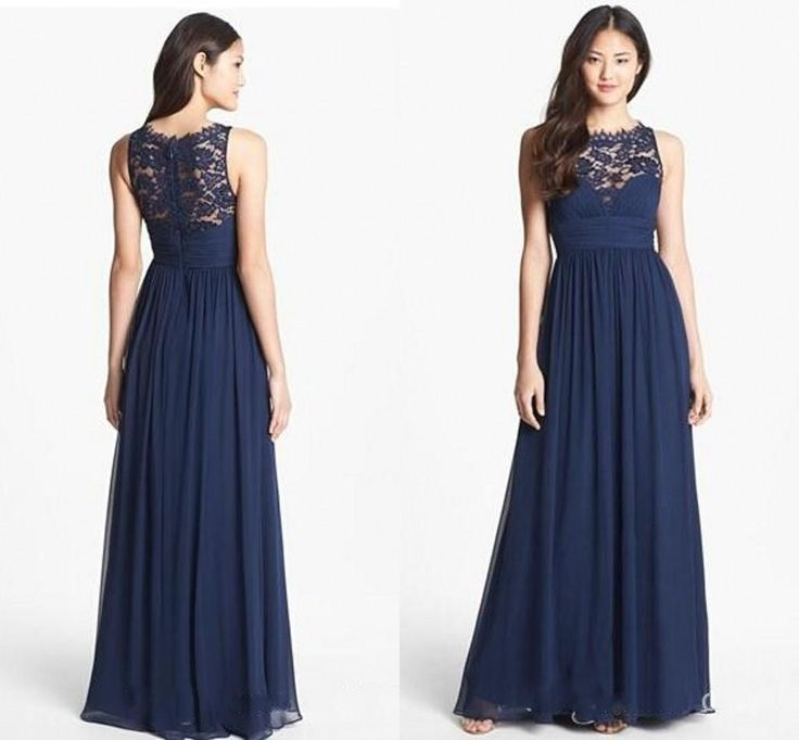 A261 Tank Lace Top Prom Dresses, A Line Prom Dresses, Dark Navy Long ...