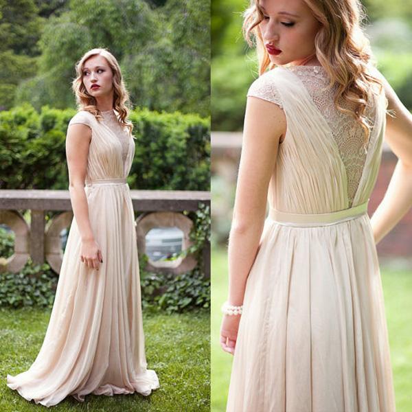 A267 Ivory Chiffon Long Prom Dresses, A Line Prom Dresses, Top ...
