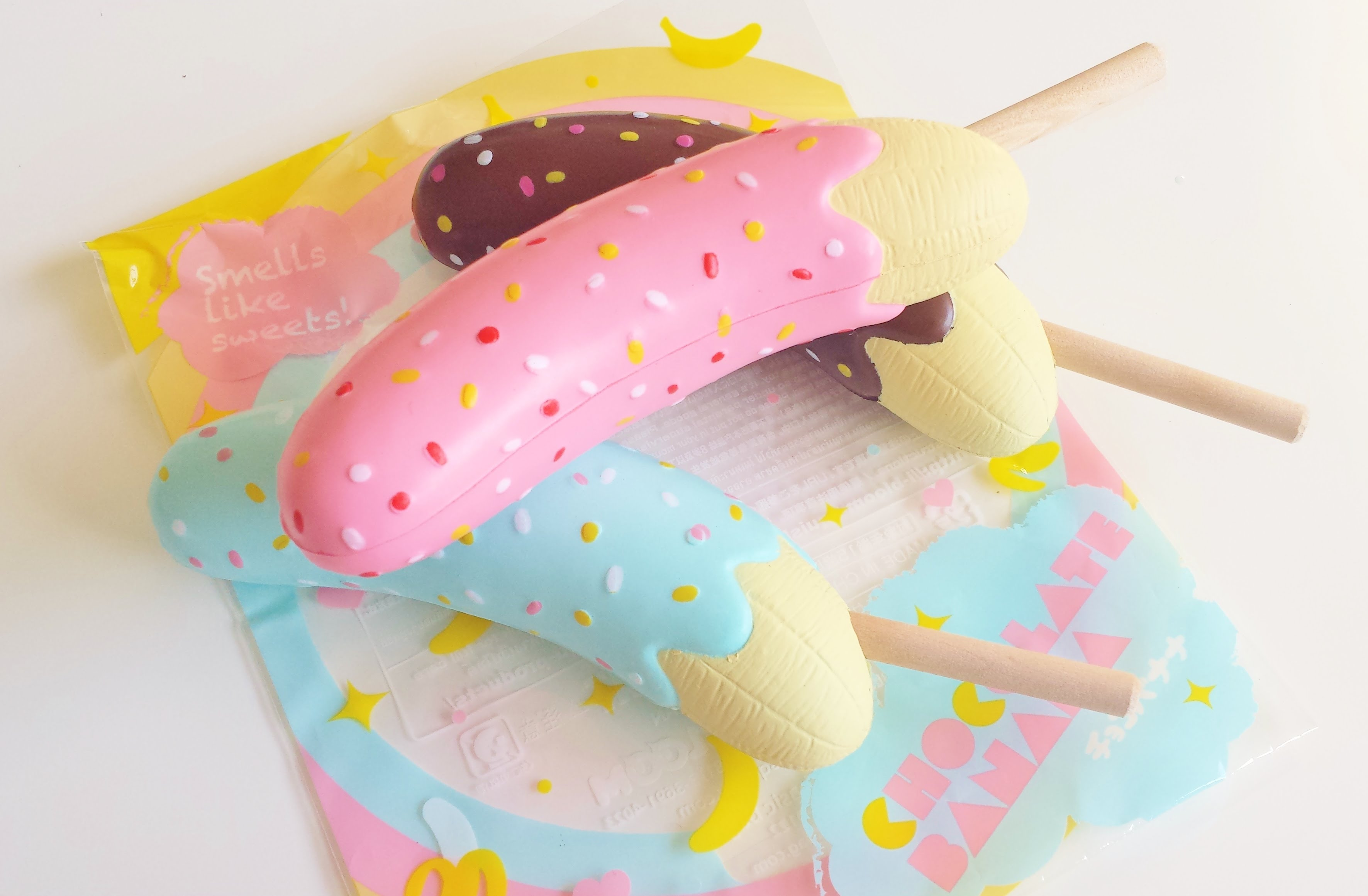 Squishy Collection Purple Banana : i-Bloom Chocolate Covered Banana Squishy On a Stick Charm ibloom ? Kawaii Squishy Shop ? Online ...