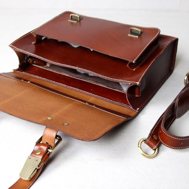 Handmade Vegetable Tanned Leather Briefcase / Messenger ...
