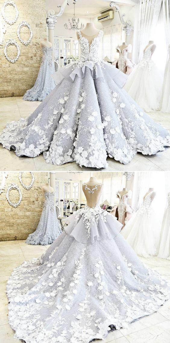 Pretty Light Blue Quinceanera Dress Ball Gown Flowers Evening Dress ...