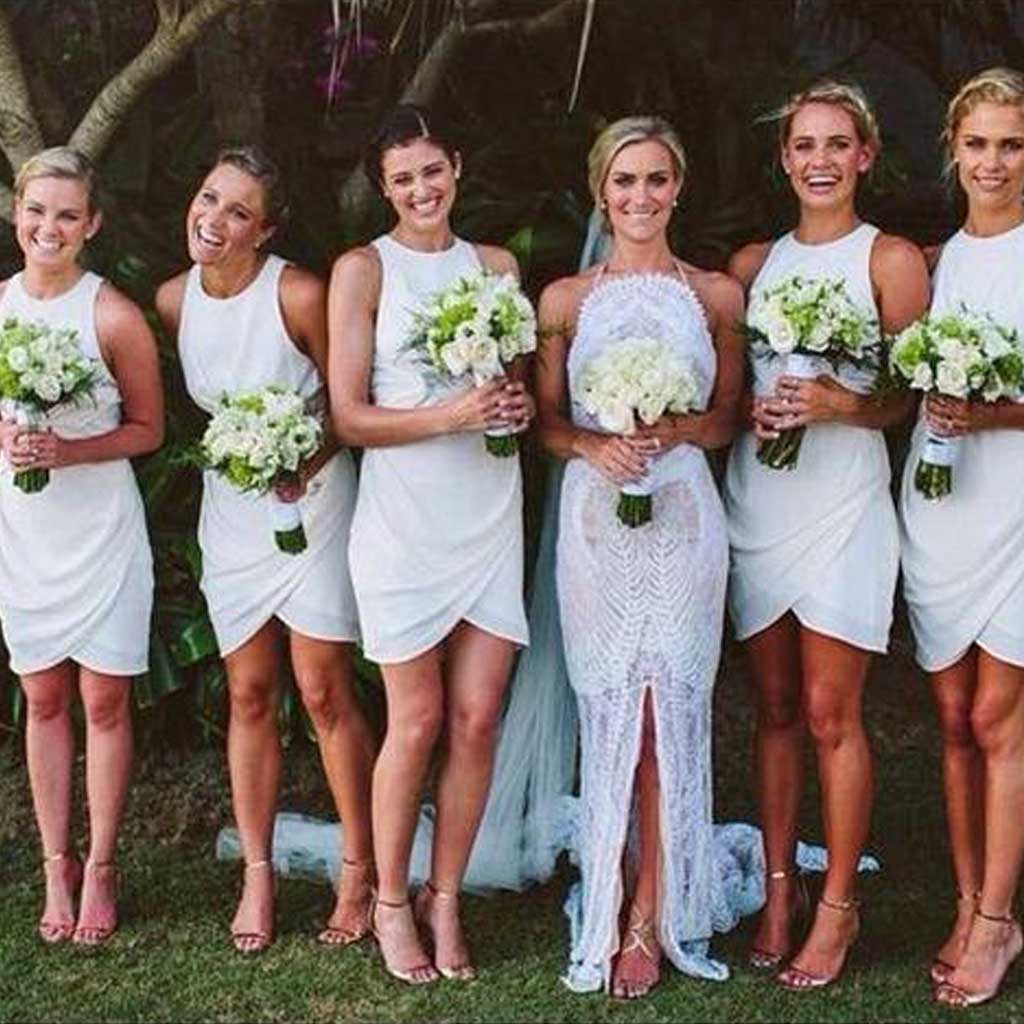 Short bridesmaid dresses, white bridesmaid dress, junior bridesmaid ...