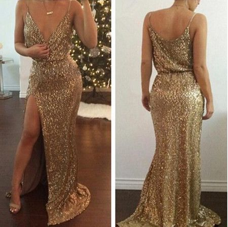 charming gold sequined party dress evening dress prom