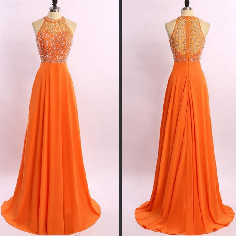 A Line Princess Orange Chiffon Prom Dresses,High Neck Long Prom ...