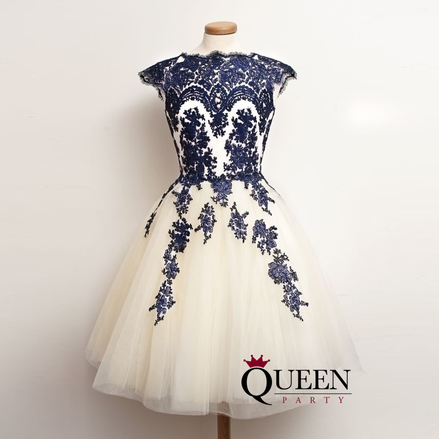 Ivory Tulle And Navy Blue Lace Appliques Short Party Dress, A-Line ...