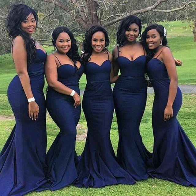 Spaghetti Straps Mermaid Long Navy Blue Bridesmaid Dress · modsele ...
