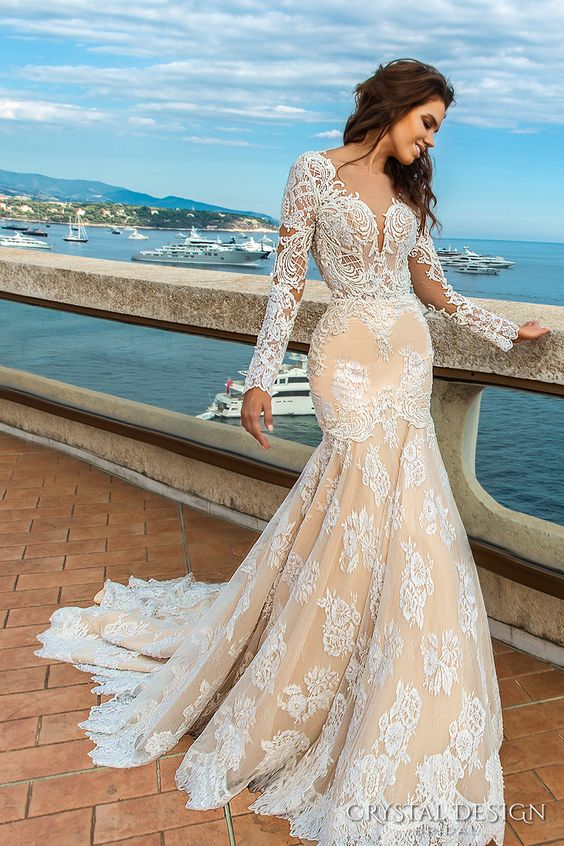 Lace Wedding Dress New Styles Boho Wedding Gown With Long Sleeves ...