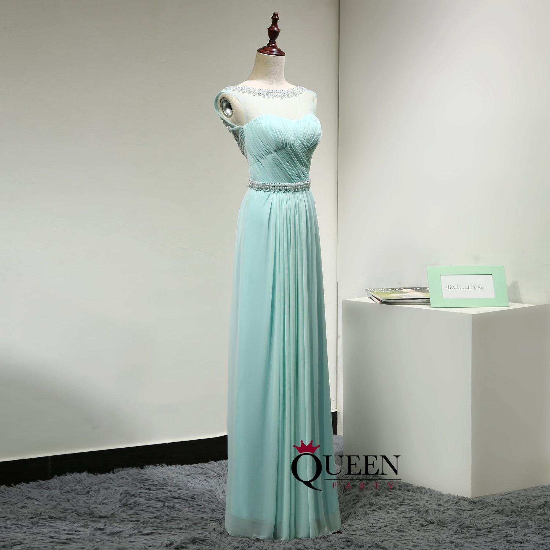 Mint Green Chiffon Sheer Illusion Long Prom Dress, Beaded Strapless ...