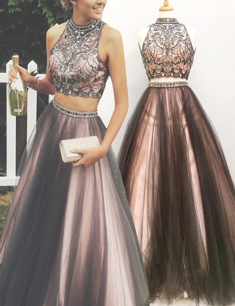 Two-Piece High Neck Floor-Length Rhinestone Grey Prom Dress with ...