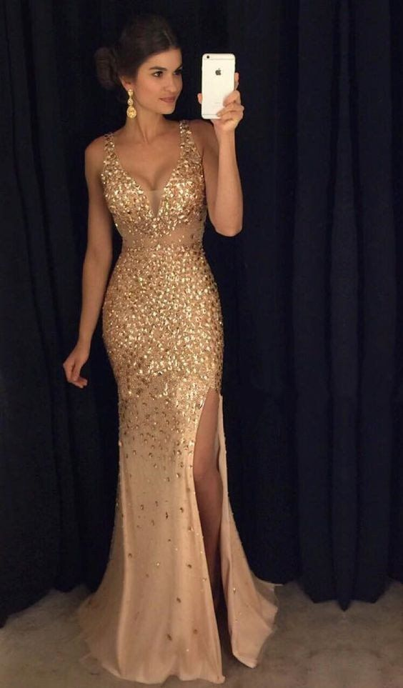 Fashion Long Prom Dress Beading Party Dressesevening Dress