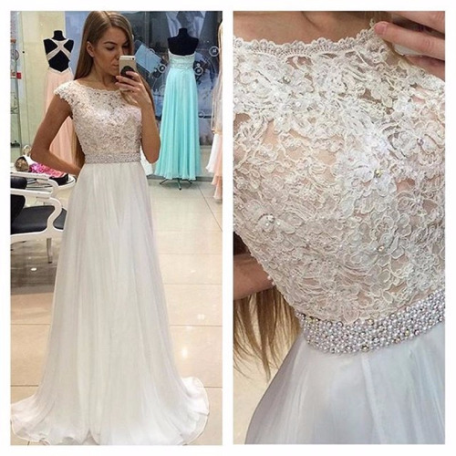 Lace See Through Evening Prom Dresses Cap Sleeve Party Prom Dress