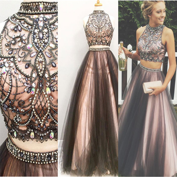 New Arrival Black Pink 2 Pieces Ball Gown Prom Dresses,High Neck ...