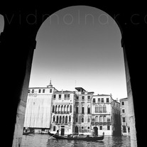 C020 Venice Gondola Through Pillars