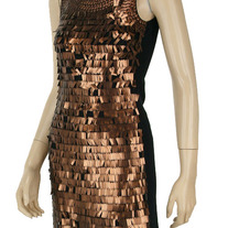 Copper Brown Bronze Sequined Trimmed Sequin Mesh Party Dress S