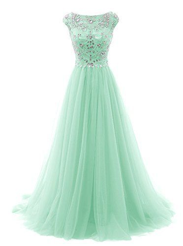 Prom Dresses Long Beads Prom Dress Tulle Cap Sleeves Evening Dress