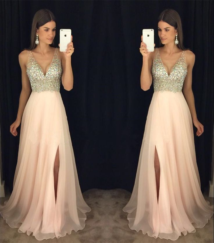 2017 Newest prom dress,V-neck prom dresses, Leg slit prom dress ...