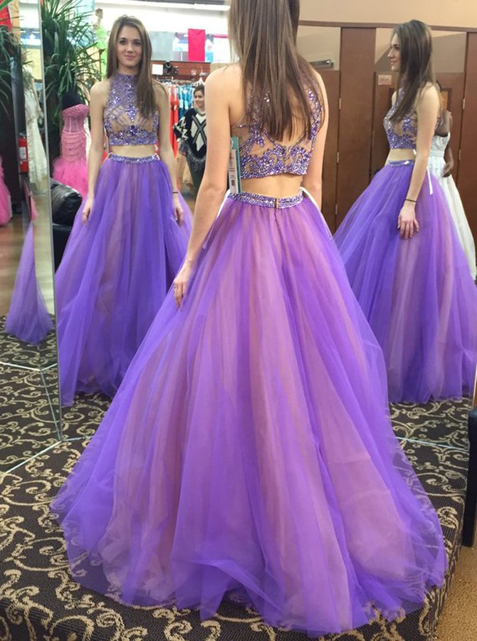efbfb17e7032 Stylish Two Piece High Neck Floor-Length Prom Dress with Beading Open Back  - Thumbnail ...