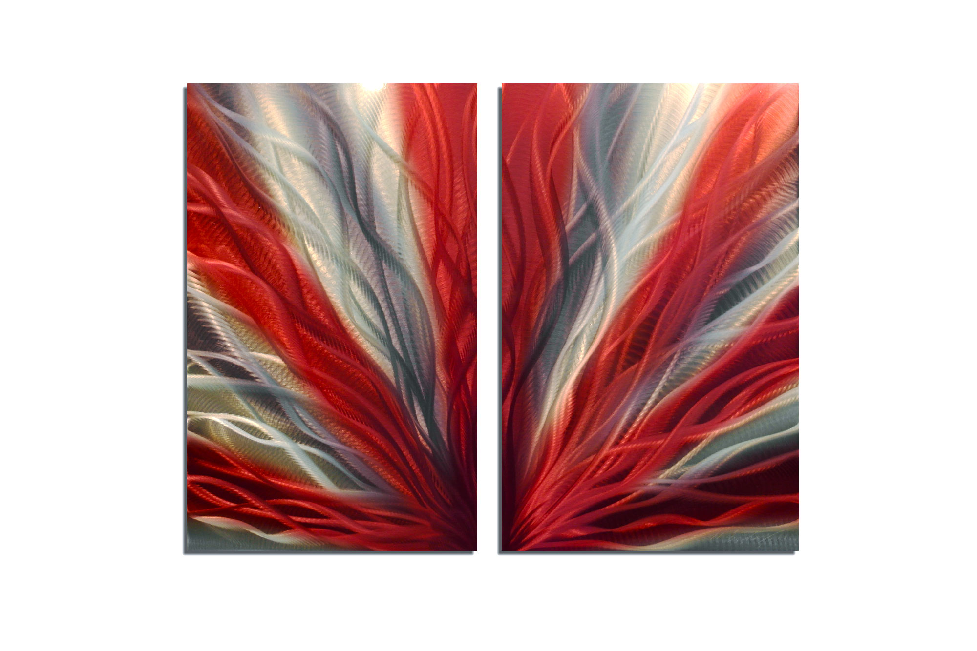Radiance red 31 metal wall art abstract sculpture modern for Red metal wall art