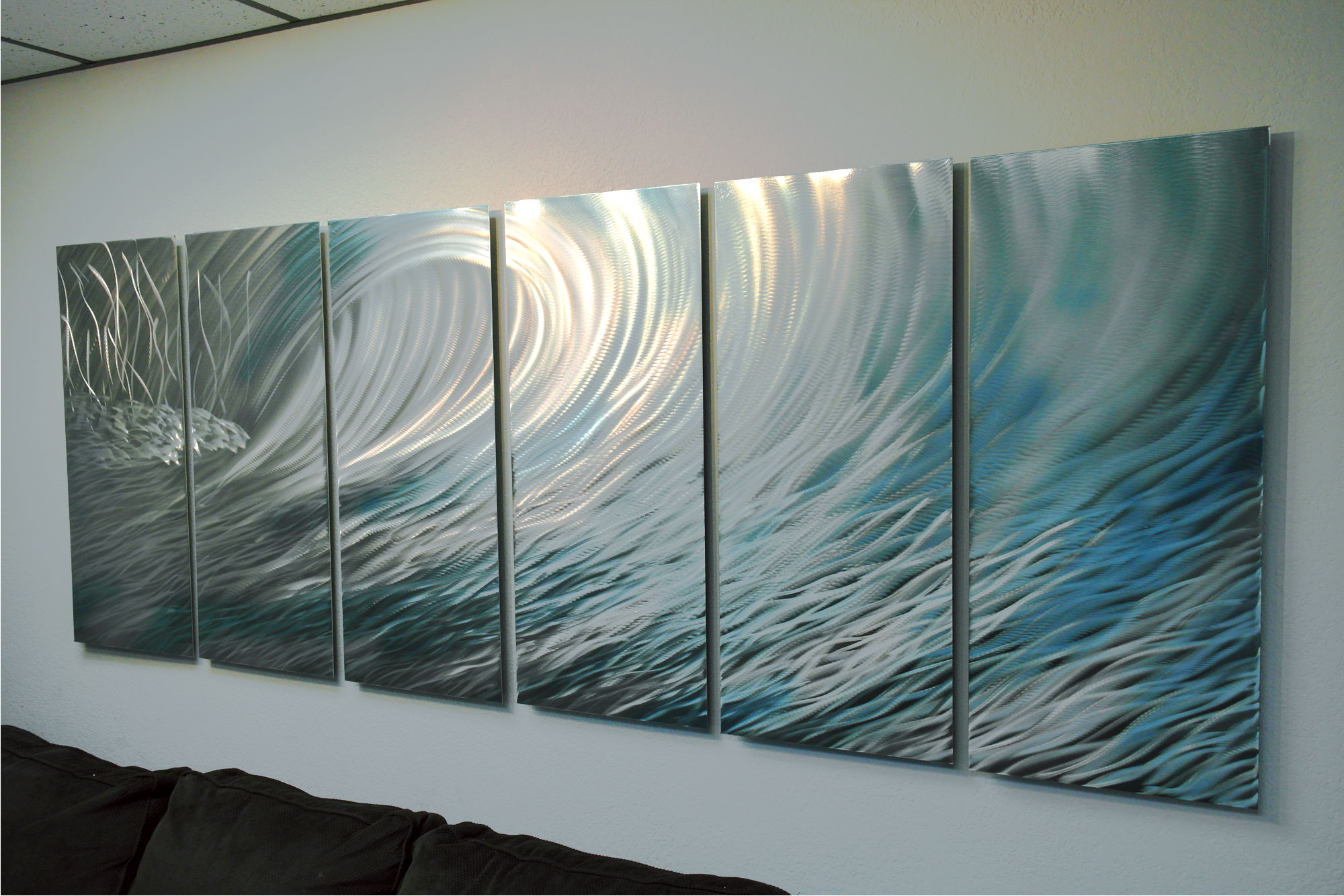 Teal Metal Wall Art Wave 36X96  Abstract Metal Wall Art Contemporary Modern Decor