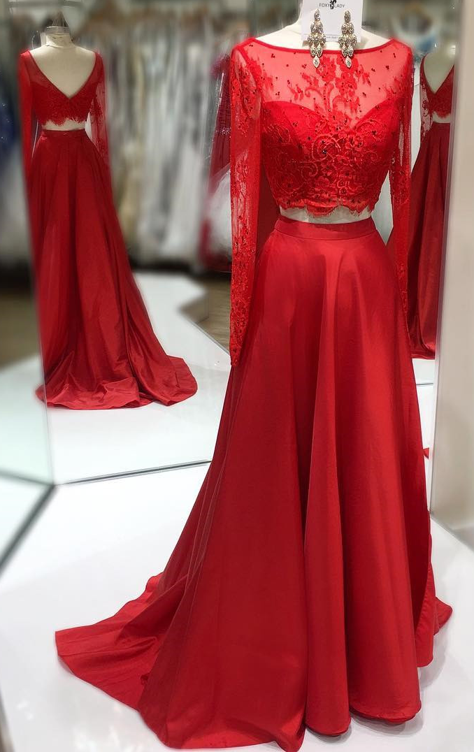 Red Lace 2 pieces long sleeves prom dresses,lace prom gowns,elegant ...